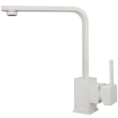 ltischarmatur Küchenarmatur Wasserhahn Mischbatterie Küchen Armatur Einhebelmischer Einhandmischer Wasserhahn Waschbeckenarmatur 360° schwenkbar Hochdruck in Granit Weiß (Küche Melden)