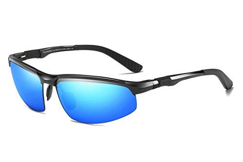 WHCREAT Herren Fahren Polarisierte Sonnenbrille Outdoor Sport Brillen Unzerbrechlich AL-MG Rahmen - Schwarz Rahmen Blau Linse