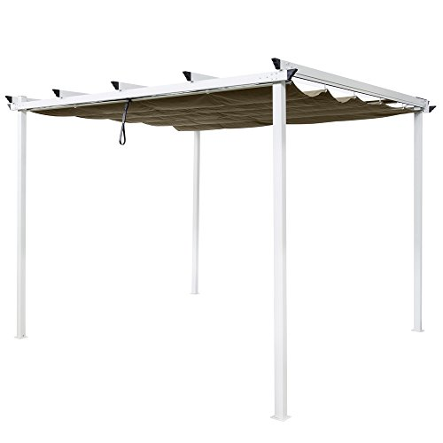 Pergola Stahl / Polyester, Weiß / Taupe, 300x 300x 240cm