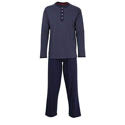 TOM TAILOR Herren Pyjama, langarm, Baumwolle, Single Jersey, blau, melange 48 (Baumwoll-jersey-pyjama Aus Set)