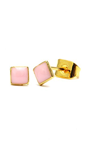 Chic-net boucles d'oreilles carrée en laiton multicolore 4 mm en laiton doré-email-sans nickel transparent
