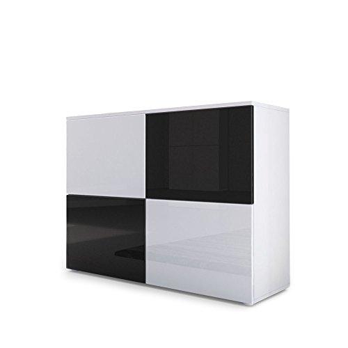 Vladon Kommode Sideboard Rova, Korpus in Weiß matt/Türen in Weiß Hochglanz und Schwarz Hochglanz
