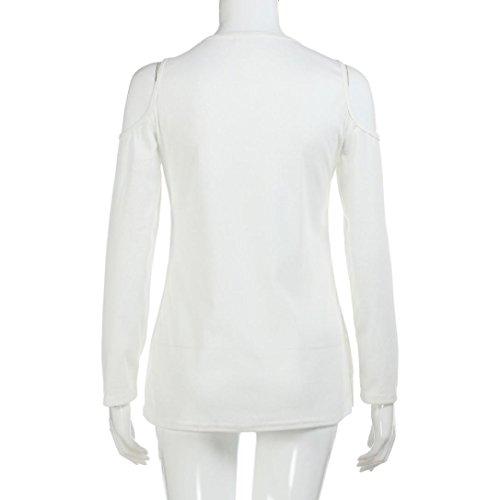 Femmes Sexy Blouse,zycShang Les Femmes Solides Manches Longues Bustier Sexy V Cou Blouse,T-Shirt à Manches Longues Blanc