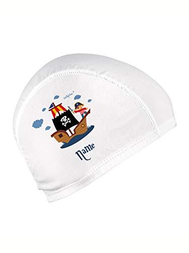 Striefchen® Badekappe für Kinder mit Namen und schönen Motiv Weiß Pirat
