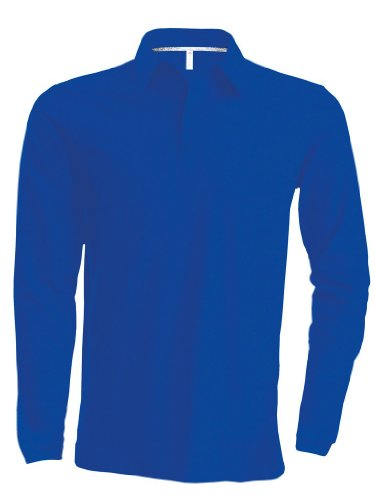 Piqué Langarm Poloshirt Light Royal Blue