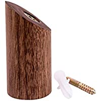 YeahiBaby 1 UNID Cilindro De Madera Gancho Montado En La Pared Bufanda Toalla Sombrero Bolsa Percha para Baño Dormitorio 6cm (Nogal Negro)
