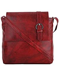 CFI Red Synthetic Leather Sling Bag For Women / Girls