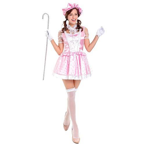 Frauen Halloween Kostüm Bier Mädchen Uniformen Restaurant Workwear Maid Kleid Bühnenkostüm (beinhaltet Hut + Kragen + Handschuhe + Rock),Pink,M (Für Keine Kosten-halloween-kostüme Kinder)