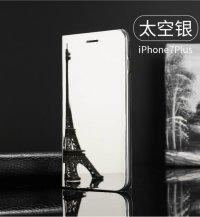 BCIT iPhone 7 Spiegel Hülle - ultradünnen lichtdurchlässigen Spiegel für intelligente Abdeckung,PU Premium Lederhülle Hülle mit Standfunktion Flip Case Schale Etui für iPhone 7 - Gold Silber