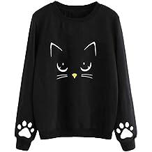 Sudadera Mujer Gato Camiseta Blusa de Otoño e Invierno de Manga Larga con Cuello Redondo Sudaderas