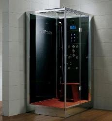 Dampfdusche/Wellnessdusche AQUALINE WS117S6 1200 x 900 x 2240mm Rückwandfarbe: schwarz, Version rechts
