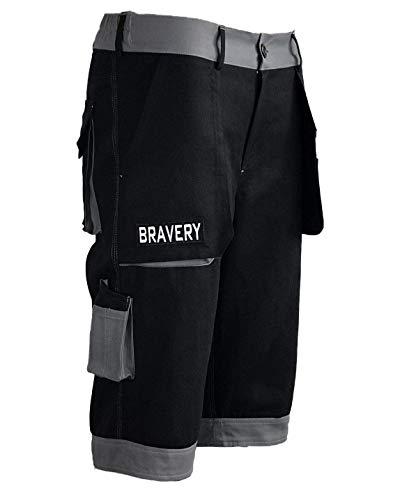 Bravery® Pantalon Court de Travail Cargo, Shorts Pantacourt avec Multipoche Professionnel - 100% Coton - Made in EU (Noir, 42 - M)