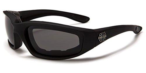 Choppers Motorradbrille Sonnenbrille Anti Fog West Coast Bikerbrille gepolstert (SCHWARZ-CH1201)