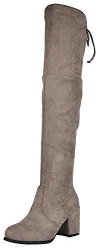 TOETOS PRADE-High Mujer Botas de Tacón Alto Invierno Moda sobre la Rodilla Botas Caqui 38.5 EU/7.5...