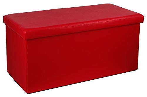 PEGANE Pouf Pliant Double en PVC, Coloris Rouge - Dim : L.76,6 x l.38 x H.37,5 cm