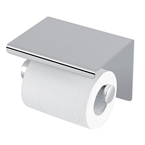 Edelstahl WC-Papier Rollenhalter mit Ablage Multifunktional self-installed Wand montiert mit Handy Halterung Ständer - Glas Metall Mobile Speicher