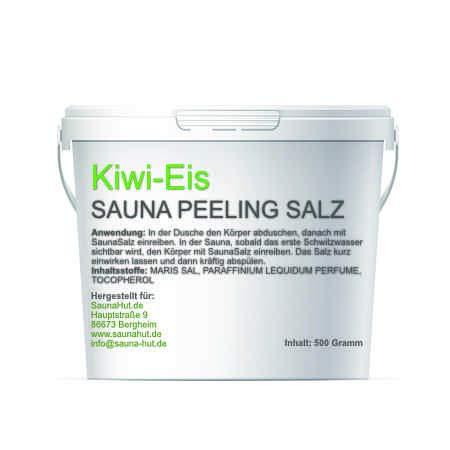 Premium Saunasalz (Salzöl) Meersalz Peeling mit ÖL | Peeling Salz | Duschsalz | Sauna Salz Peeling | (Kiwi-Eis)