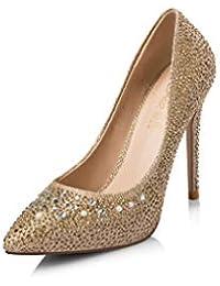 Rhinestone Otoño Nueva Plataforma Impermeable Zapatos de tacón Alto Mujeres Stiletto Zapatos de Boda Puntiagudos Boca