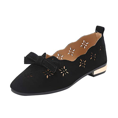 Freizeitschuhe Damen,ABsoar Bogenknoten Hausschuhe Square Toe Schuhe Leder Flachen Mokassins Sommer Ballerinas Vintage Slippers Bequeme Espadrilles 35-40