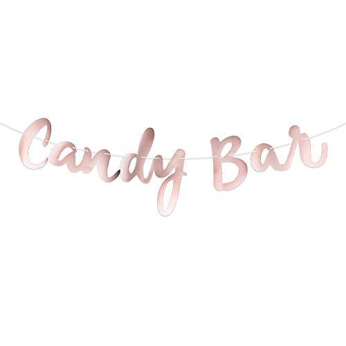 MEJOSER Candy Bar Banner Girlande Papier Girlande in Rosegold Metallic Candy Bar Zubehör Wimpelkette Dekoration für Hochzeit Geburtstag Party JGA Party Feier Weihnachtsfest Candy Bar Schritzug