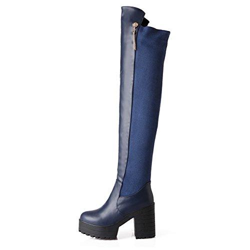 AgooLar Damen Rund Zehe Hoch-Spitze Hoher Absatz Rein Blend-Materialien Stiefel, Blau, 40