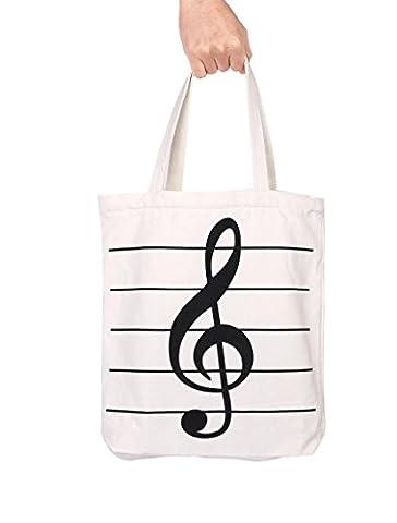 Action Cloud touches de piano musique Sac à main Tote Sac de shopping, livre de musique Sac et cadeau d'amateurs de musique MG-342 White