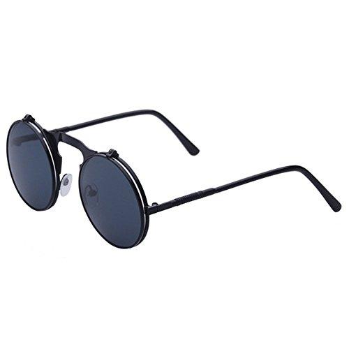 Highdas Metall Weinlese Kreis Sonnenbrille Herren Flip Up Steampunk Runde Glas Damen Schutz Brillen C8