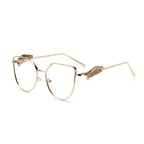 YMTP Retro Cat Eye Brille Frames Frauen Mode Lesebrille Mens Metall Optischen Rahmen, Gold