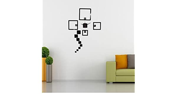 7ba13b51481 Buy 2 Colors DIY Wall Decal Clock Wall Stickers Watch Acrylic Dice Wall  Sticker Home Wall Décor- Black Online at Low Prices in India - Amazon.in