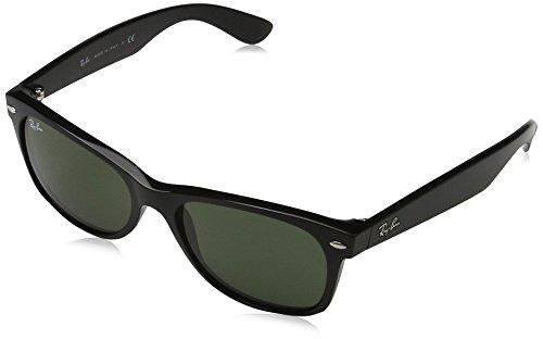 Ray Ban Unisex Sonnenbrille RB2132, Gr. Large (Herstellergröße: 55), Schwarz (Gestell: schwarz, Gläser grün 901L)