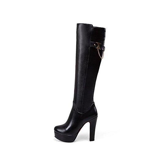 AgooLar Damen Hoch-Spitze Eingelegt Ziehen auf Mittler Absatz Stiefel mit Metallisch, Braun, 35
