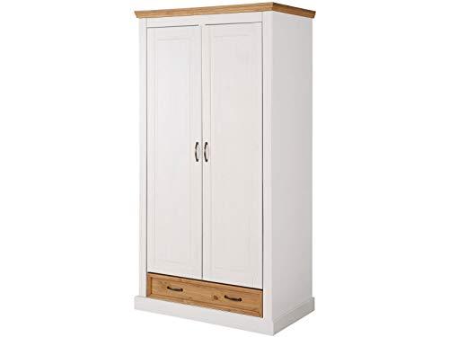 Loft 24 A/S Kleiderschrank mit Schublade, Kleiderschrank Dielenschrank Schlafzimmerschrank Landhausstil Kiefer Massivholz (weiß & gebeizt geölt, 2 Holztüren, 100 x 58 x 190 cm)