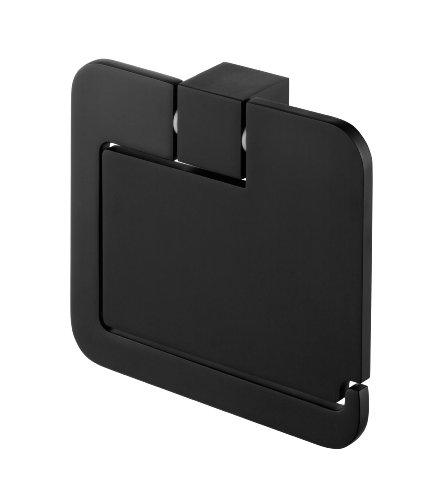 Bisk 02961 Futura Toilettenpapierhalter mit Abdeckung, 13,3x3x12cm, Schwarz