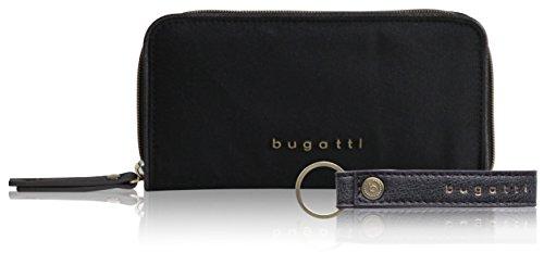 bugatti Contratempo RFID Nylon Geldbörse mit Reißverschluss für Damen - edles Portemonnaie in schwarz (Canvas-nylon-geldbörse)