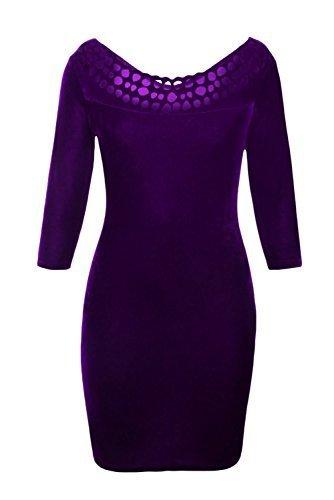 Cfanny Femmes Creusé Col Rond À Manches Velours Robe Moulante Violet