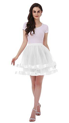 e Retro Ballettrock Unterrock Kurz Tutu Röcke Unterrock Unterrock Pettiskirt Petticoat Weiße Größe S-M (Halloween-hippie-kostüm Selbstgemacht)