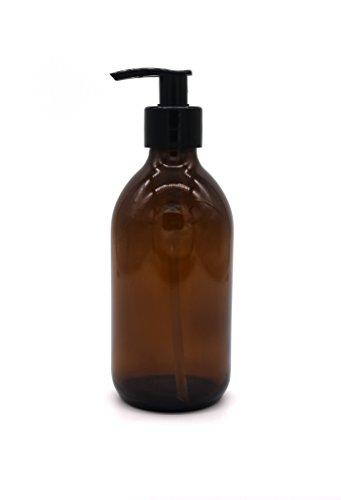 Amber Brown Glass Soap Dispenser Bottle By Kuishi (300ml)