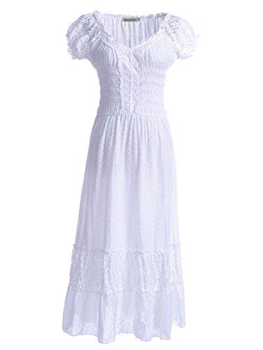 Anna-Kaci Frauen Einfarbige Elastische Smock Taille Sommer Flügelärmeln Boho Gypsy Lange Lace Spitze Oktoberfest Maxikleid Kleid, L, Weiß