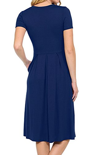 LILBETTER Damen Plissee Lose Swing Casual Kleid mit Taschen Knielänge 01 Navy blau Kurzarm