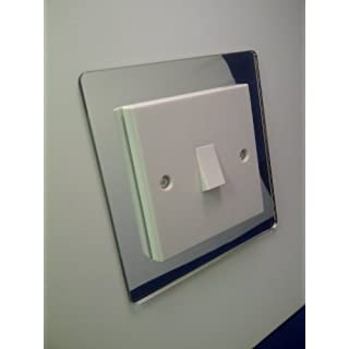 SINGLE LIGHT SWITCH COVER SURROUND COLOURED ACRYLIC DECORATIVE PERSPEX FINGER PLATE SILVER MIRROR CHROME EFFECT. FREE POSTAGE