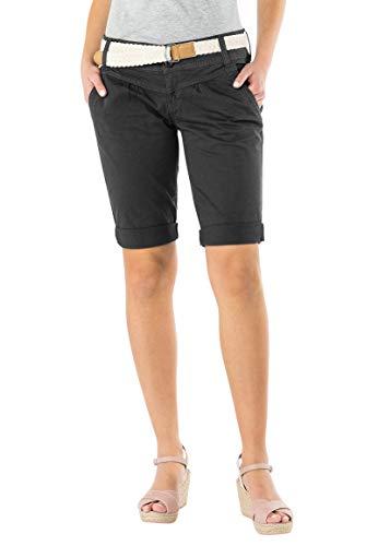 Fresh Made Damen Bermuda-Shorts in Pastellfarben mit Flecht-Gürtel | Elegante Kurze Hose im Chino-Style Dark-Grey S