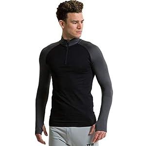 TCA Legend SuperKnit Half Zip Herren Laufshirt/Funktionsshirt mit Kragen – Langarm