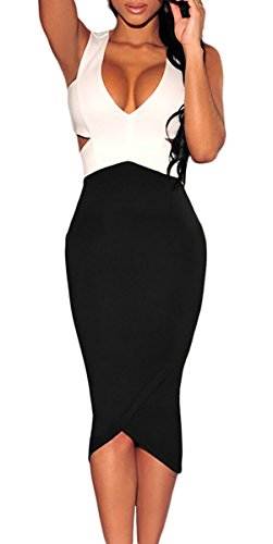 MYWY - Abito donna nero bianco aderente vestito elegante vestitino festa tubino midi Nero