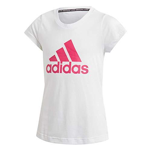 Adidas yg mh bos tee, t-shirt bambina, white/semi solar pink, 11/12