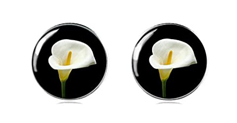 Viktoria Beckham Mini Dress Inspired 925 Sterling Silver Earring Studs 12 mm Black and White Flower for Ladies and Girls Perfect Gift or Party by Tizi Jewellery