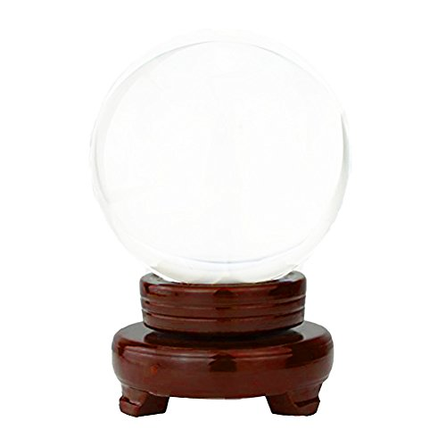 JJOnlinestore–Bola de cristal transparente con soporte de madera para Feng Sui, escaparates o decoración del hogar (80 mm)