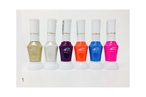 LOT DE 6 Vernis dessin Nail art 2 en 1 - Chrome Or / Blanc / Prune / Orange / Bleu / Rose REF1