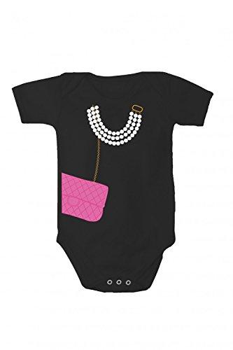 Baby Body mit Druck Kette und Handtasche, Größe:56;farbe:Nero