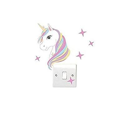 Bravehope Unicorn and Star Light Switch Wall Sticker Children's Bedroom Switch Posts *1pcs