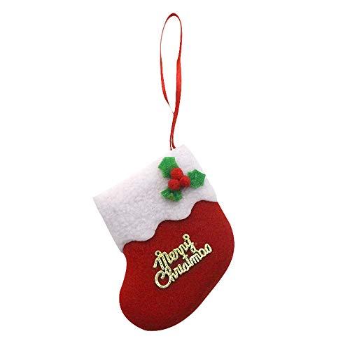 Pottoa Weihnachtsstrumpf-Mini-Socken-Weihnachtsmann-SüßIgkeits-Geschenk-Beutel-Weihnachtsbaum-HäNgender Dekor Bonbonfarbene Weihnachtsmann-Socken